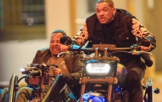 "Will Smith and Martin Lawrence in a motorcycle scene for ""Bad Boys 3"""