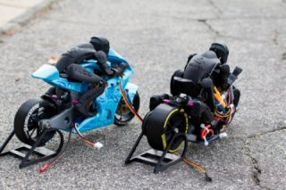 Brett Turnage and his models of motorbikes, printed on a 3-D printer
