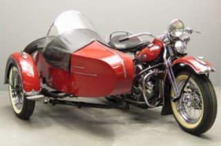 "Vintage 1948 Harley-Davidson Panhead ""F"" Model with a sidecar"