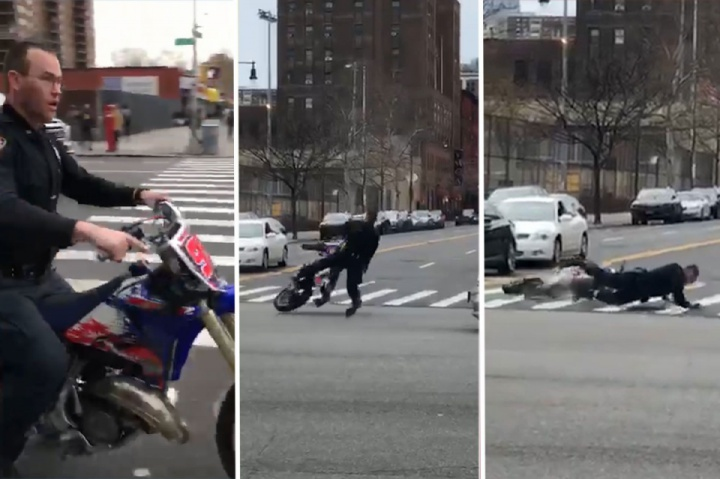 NYPD officer wipes out on dirt bike in Harlem