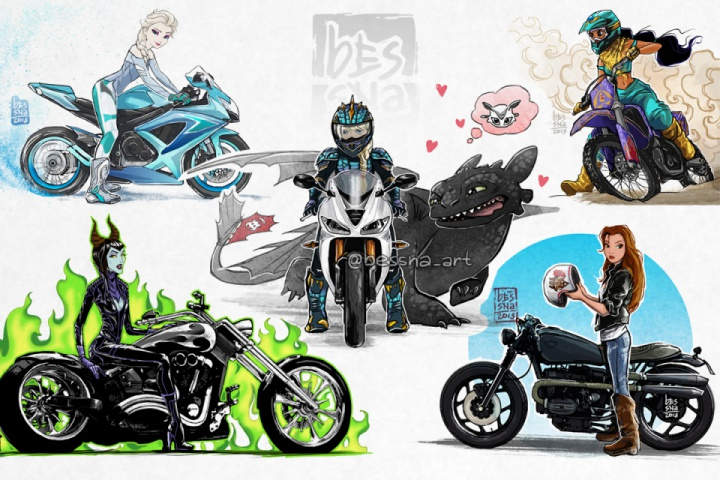 Russian illustrator gives Disney Princesses a smashing upgrade with motorcycles