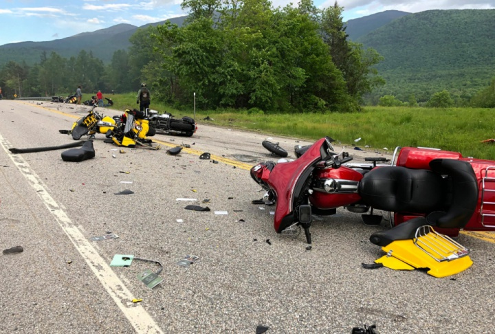 7 dead, 3 hurt in crash between truck, motorcycles in New Hampshire