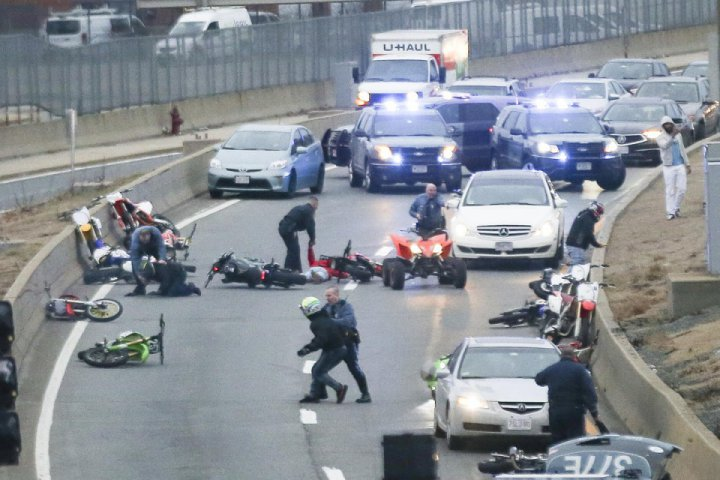 Dirt riders were seized and one of them was shot in the foot by